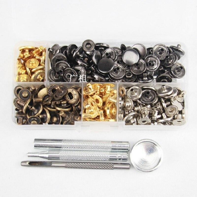 Cierres Kit Metal Botones Botones a Presión Ropa Reparación Decoración