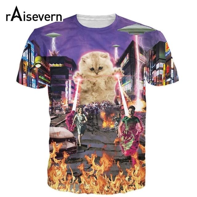 b0e4848b66d The Kitten No One Loved T-shirt Killer Laser Kitten T Shirt 3D Funny Animal  Cat Design Full Print Tee Tops Summer Style Dropship