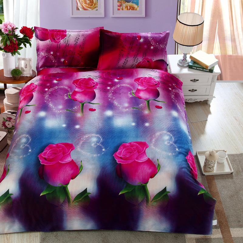 Whole Bedding Set Hot Online Ping 4pcs Rose Comforter Quilt Cover Bed Linen Pillowcase Queen Size