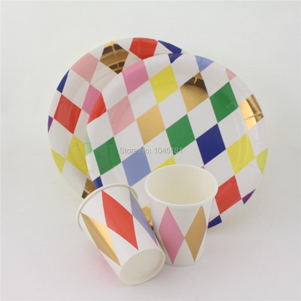 ipalmay Bright Colors & Festive Gold Foil Paper Plates Paper Cups Harlequin Design Tableware Set Bachelorette Party Supplies