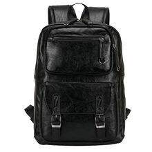 PU Leather Men's Backpack Youth School Bags for Teenagers Male Black Color Fashion Travel Backpacks Bag SG8112