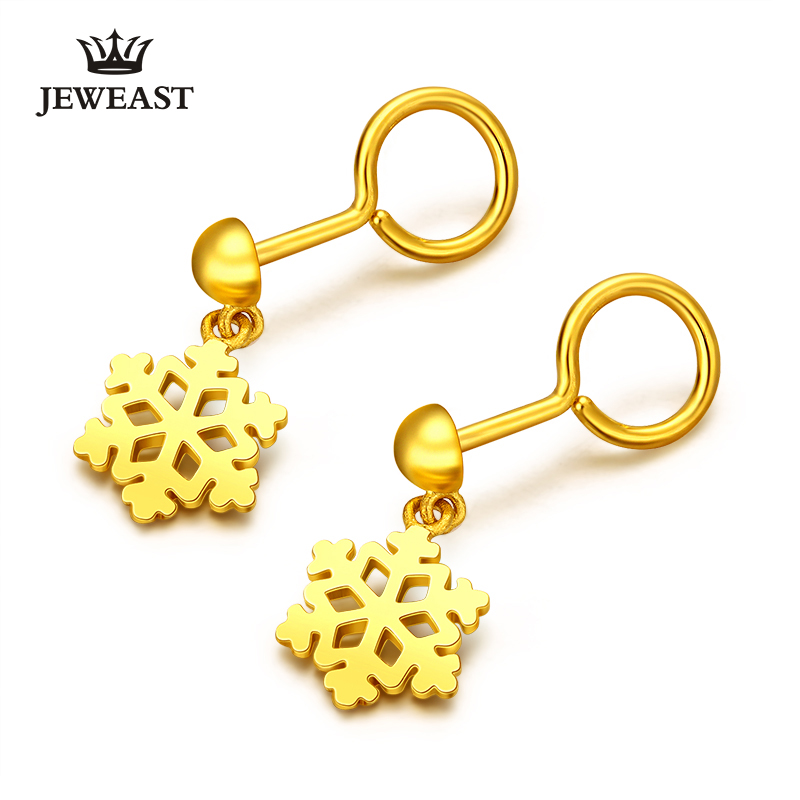24K Pure Gold Earring Real AU 999 Solid Gold Earrings Nice Snowflake Upscale Trendy Classic Party Fine Jewelry Hot Sell New 2018 24k gold ring flower female women mother wife lady girl 2017new hot sale fine jewelry trendy good nice top upscale real pure 999