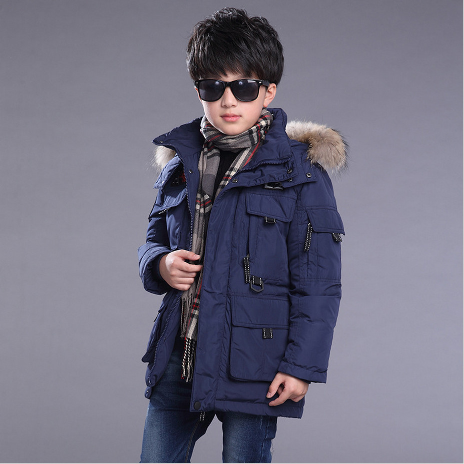 ФОТО 2016 Winter Boys Down Jacket Outerwear Coats Snowsuits Fashion Thick Long Raccoon Fur Collar Overcoat High Quality 130-170