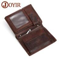 JOYIR Men Real Leather Wallets Retro Men Coin Purse Money Short Genuine Leather Wallets Card Holder