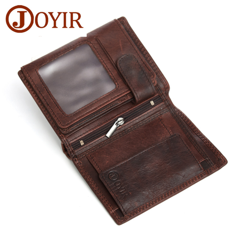 JOYIR Men Real Leather Wallets Retro Men Coin Purse Money Short Genuine Leather Wallets Card Holder Male Wallet Money Bag joyir wallet men leather genuine solid men wallets leather vintage card holder money short carteira masculina male gift 2023