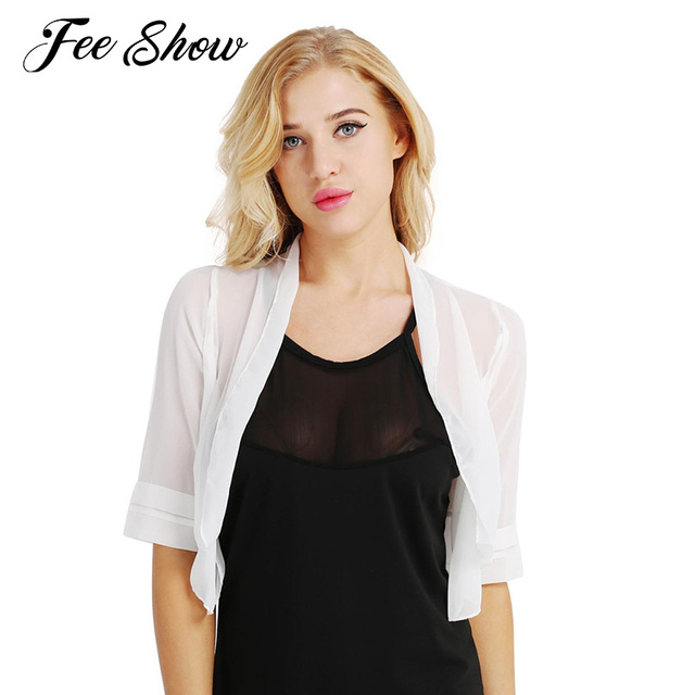 dce685d48333 2018 Womens Fashion Bolero Outerwear Soft Sheer Lightweight Chiffon Casual  Bolero Summer Shrugs Open Front Short
