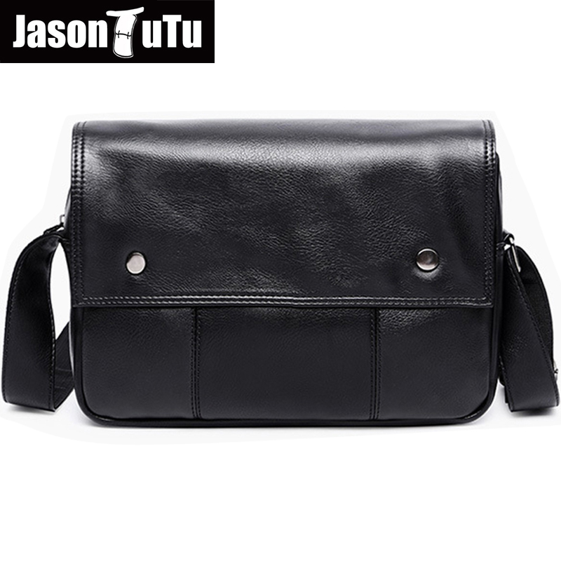 JASON TUTU Shoulder bags for men Casual messenger bag men leather high quality Simple men's Black small bag B119 high quality casual men bag