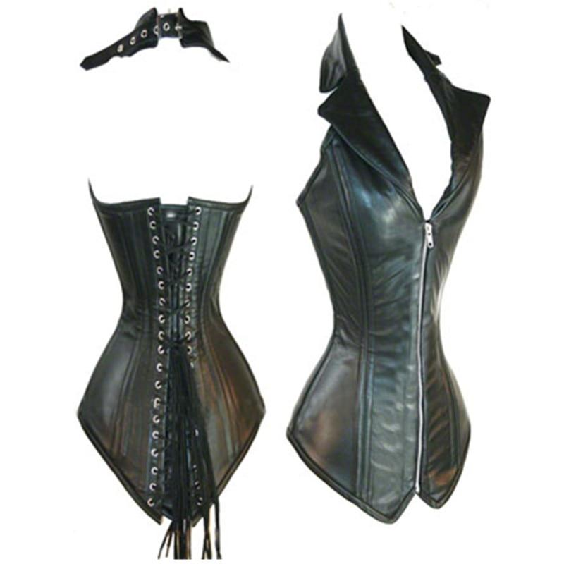 Women's Leather Corset Lingerie Bustier Top With G-string Black Color PU Corsets Zipper Front Vest Corsets