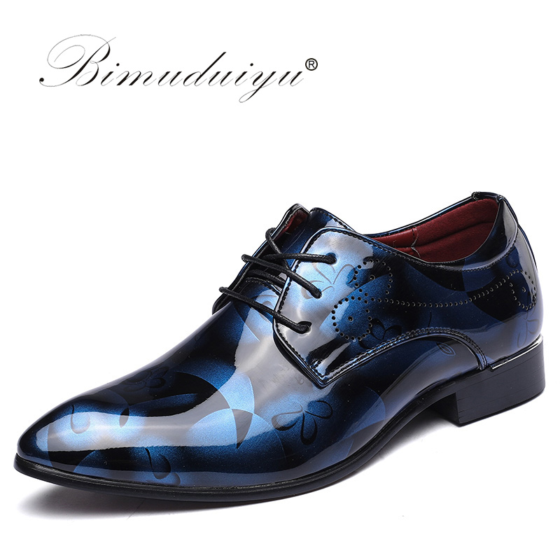 BIMUDUIYU Luxury Brand Mens Pointed Toe Dress Shoes Shadow Patent Leather Shoes Fashion Groom Wedding Shoes Oxford Shoes 38-49 bimuduiyu patent leather oxford shoes for men loafers dress shoes formal shoes pointed toe business fashion groom wedding shoes