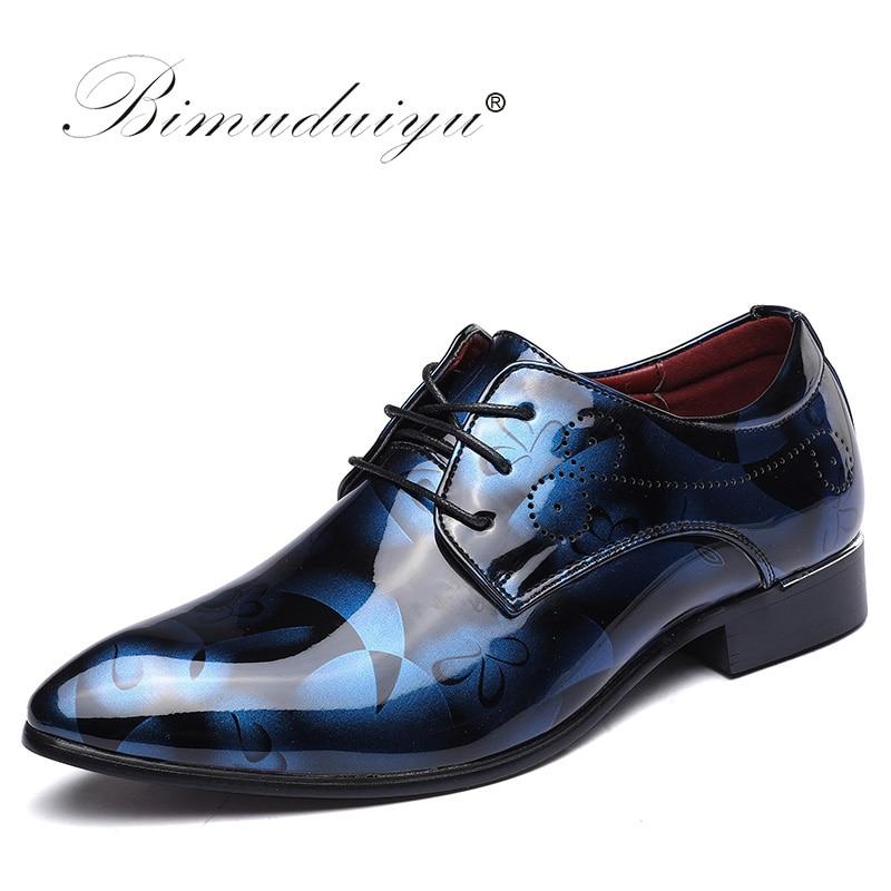 bc00f153523 BIMUDUIYU Luxury Brand Mens Pointed Toe Dress Shoes Shadow Patent Leather  Shoes Fashion Groom Wedding Shoes
