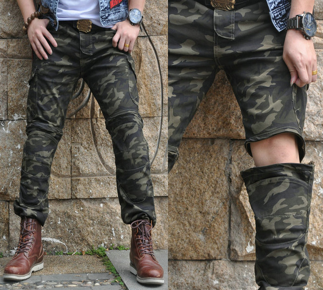 2018 new motorcycle riding jeans, anti dropping trousers, elastic camouflage motorcycle  ...