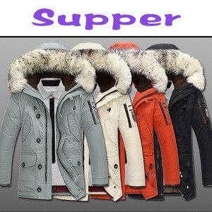 Image 5 - Nova marca jaqueta de inverno dos homens 90% pato branco para baixo jaqueta grossa manter quente jaqueta de pele gola com capuz para baixo jaquetas casaco masculino