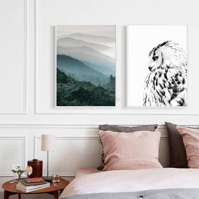 4 46 26 De Réduction 2 Panneau Paysage Affiche Hibou Impression Scandinave Toile Peinture Nordique Art Mur Photo Pour Salon Moderne Décor à La