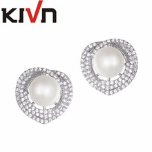 KIVN Jewelry CZ Cubic Zirconia Heart Stud Womens Wedding Bridal Simulated Pearl Earrings Promotion Birthday Christmas Gifts