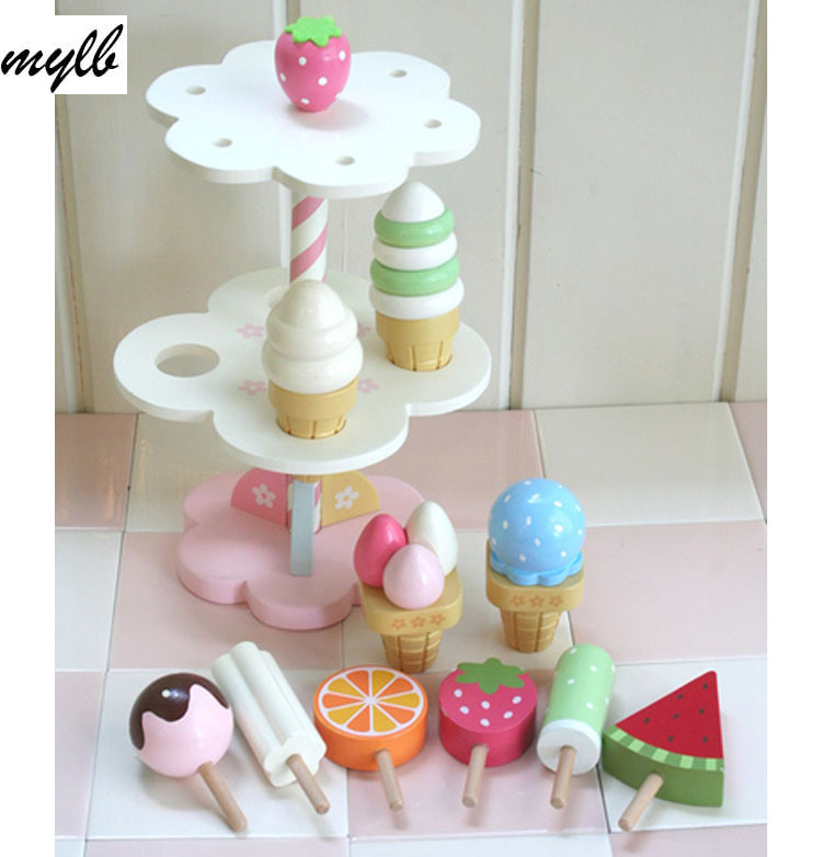 drop shipping Baby Toys Simulation Magnetic Ice Cream Wooden Toys Set Pretend Play Kitchen Food Baby Infant Toys Food Birthday kitchen simulation toys for children cake decorating wooden toys afternoon tea set birthday cake baby toysgift