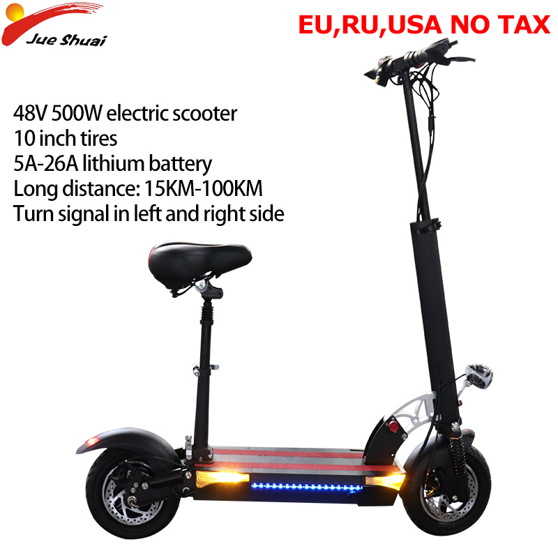 Jueshuai 10'' Electric Scooter 48V 500W 100KM Patinete Electrico Adulto Foldable seat e scooter Electric Skateboard Houverboard