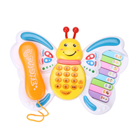 Baby Toys Butterfly Cellphone Mobile Phone Educational Learning Machine Piano Keyboard Music Toy Electric Phone Toy