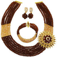 Brown Gold AB Crystal Beads African Jewelry Set Nigerian Wedding Party Jewelry Sets 6C SS004