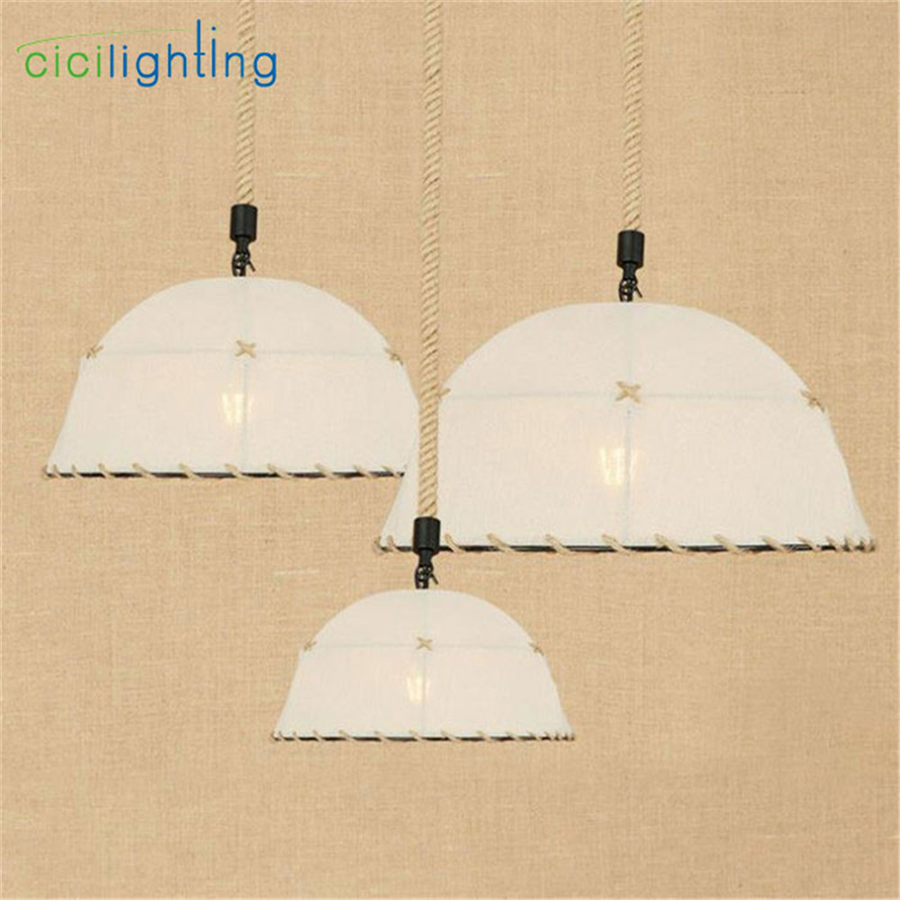 Modern D30cm D35cm D40cm Fabric lampshade hemp pendant light art decorative E27 LED cloth dining room hanging lamp hanglampen industrial vintage wrought iron chandelier hemp rope lamps fabric lampshade d35cm d40cm d45cm art restaurant cafe room lighting