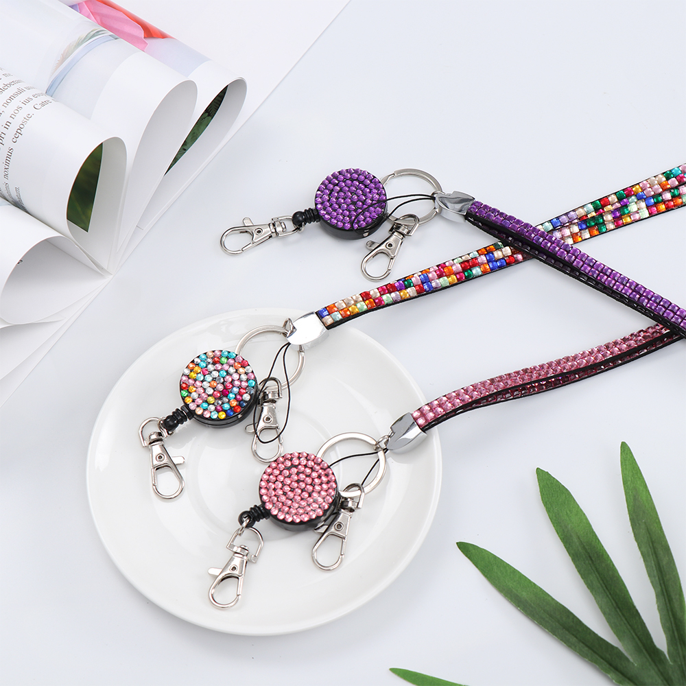 2 Styles Retractable Pull Badge ID Lanyard Name Card Holder Neck Strap Lightweight Necklace Hanging Rope Reels Key Ring Clips