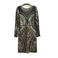 Women's Fashion Beading Sequins Dresses Ladies Long Sleeve Mesh Lace Backless Dress for Party