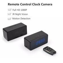 Full HD 1080 P Relógio Da Câmera de Controle Remoto Ajuste de Alarme Mesa Relógio Da Câmera Infravermelho Night Vision Mini Câmera Sensor de Movimento Cam
