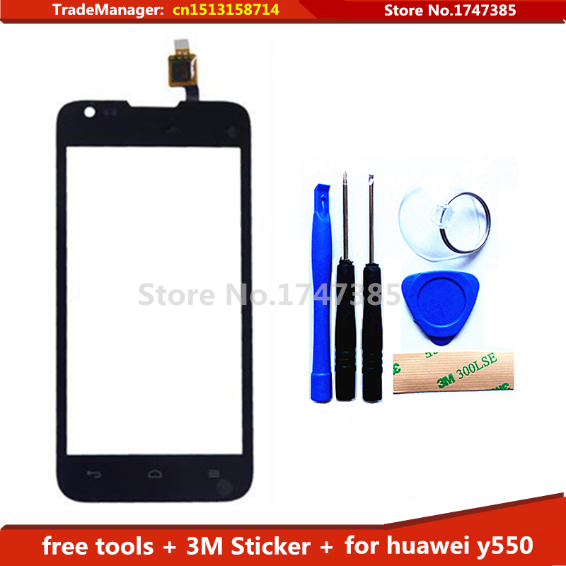 Tools 3M Sticker Original Touch Screen for Huawei Ascend Y550 Glass Capacitive sensor for huawei y550