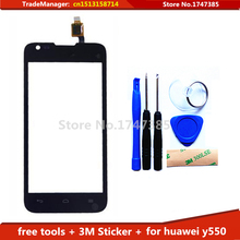 Tools+ 3M Sticker Original Touch Screen for Huawei Ascend Y550 Glass Capacitive sensor for huawei y550 Touch Screen panel Black