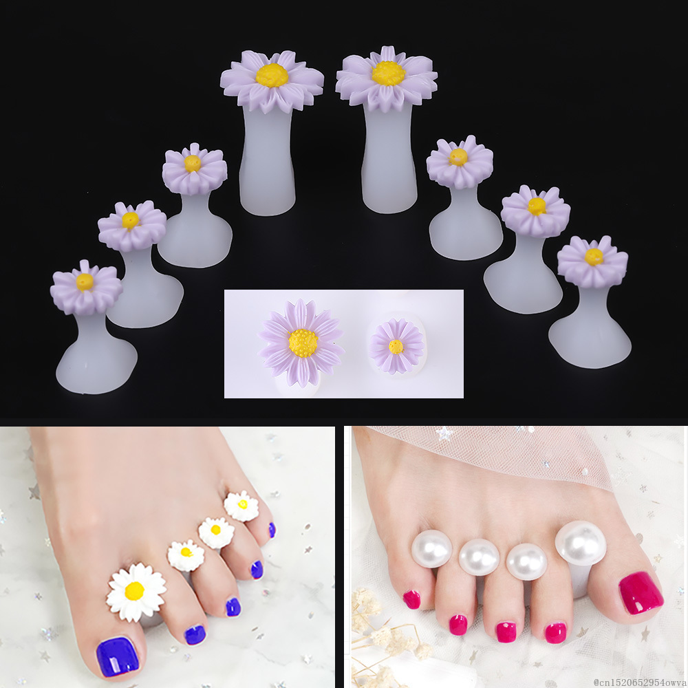 7 Style 8pcs Silicone Toe Separator Flower Pearl Heart Nail Art DIY Foot Finger Divider Manicure Pedicure Care Foot Care Tools