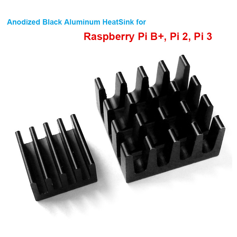 5 Sets/10pcs Raspberry Pi B+ Pi 2 Pi 3 Anodized Black Aluminum Heat Sink Radiator CPU RAM cooler,LAN cooling (2 Heatsinks/Kit) fiscal end aluminum fanless embedded computer with i3 3217u 6com 4g ram onboard 2 intel lan support wake on lan dual 24bit lvds