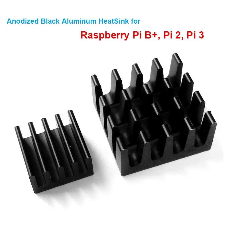 5 հավաքածու / 10 հատ հատ ազնվամորու Pi B + Pi 2 Pi 3 անոդացված սև ալյումինի ջերմային լվացարան ռադիատոր CPU RAM հովացուցիչ, LAN սառեցում (2 Heatsinks / Kit)