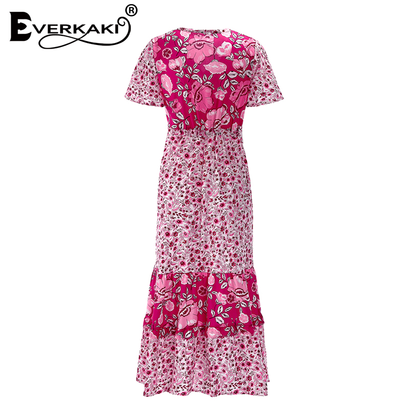 a0ef92276e2 Everkaki Bohemian Dress Women Floral Long Gypsy Maxi Dress Liberty Print  Deep V Neck Short Sleeve Dresses Summer 2019 -in Dresses from Women s  Clothing on ...