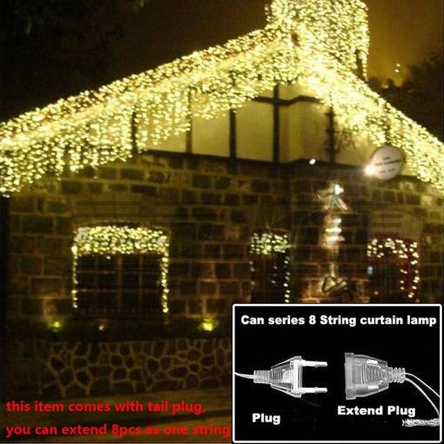 Рождественские огни открытый украшения 3.5 м свисать 0.3-0.5 м под занавес сосулька огни строки новый год свадьба гирлянда света