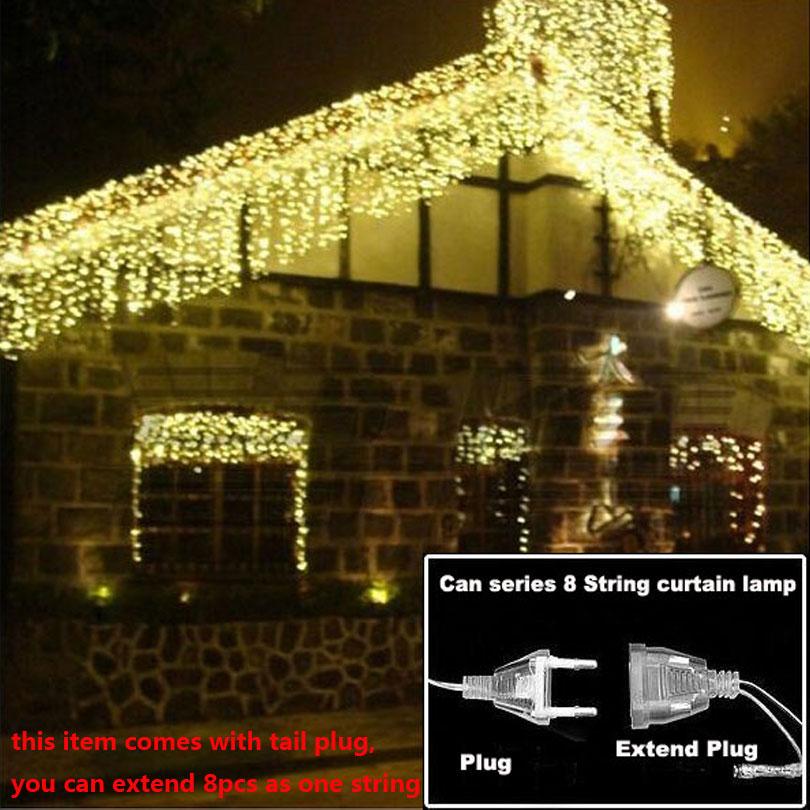 Luces de Navidad al aire libre de luz 4,5 m 110 V 220 V 100 LED cortina de Año Nuevo fiesta de boda de vacaciones lámpara de luz LED