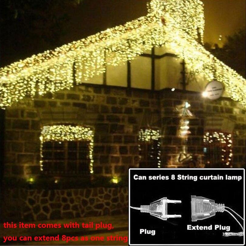 Weihnachten lichter Outdoor-string licht 4,5 mt 110 v 220 v 100 leds Vorhang Dekorative Neue Jahr Party Jäten Urlaub LED Lampe Licht