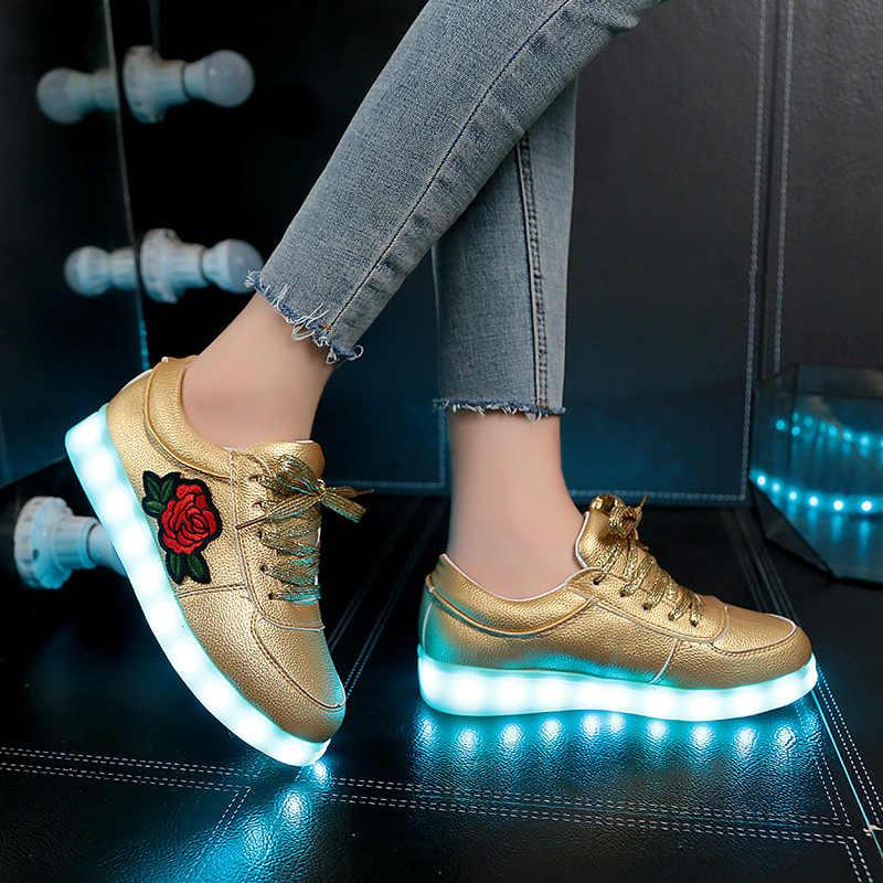 ขนาด 27-42 // เด็กเรืองแสงรองเท้าผ้าใบเด็ก Led รองเท้าดอกไม้ส่องสว่างรองเท้าผ้าใบสำหรับผู้หญิงชาร์จ USB รองเท้า Led สำหรับเด็ก