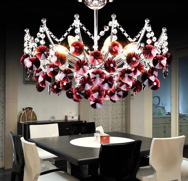 Modern Re Crystal Chandelier Light K9 Transpa Black Purple Red 40cm Lighting E14