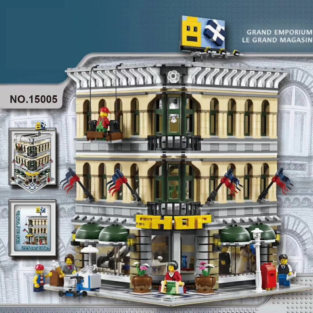 Lepin 15005 NEW 2232Pcs City Grand Emporium Model Building Blocks Kits Brick Toy Compatible 10211 a toy a dream lepin 15008 2462pcs city street creator green grocer model building kits blocks bricks compatible 10185