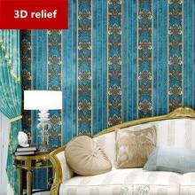European luxury style Bedroom wallpaper HD relief Non-woven 3D Soundproof background Luxury flannelette wall sticker