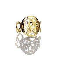 Gepersonaliseerde Monogram Ring Aangepaste Cut 3 Monogram Initialen In Circle Met Hart Stijl Ringen Liefde Ringen