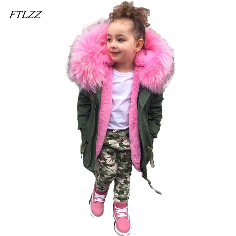 FTLZZ New Fur Coats Boys Girls Parkas Children Big Faux Fox Fur Coat Winter Hooded Thicken Warm Jackets Kid Fur Collar Outerwear winter fur hooded warm jackets for girls padded coats thicken pu leather patchwork fox faux fur collar jacket outerwear w57