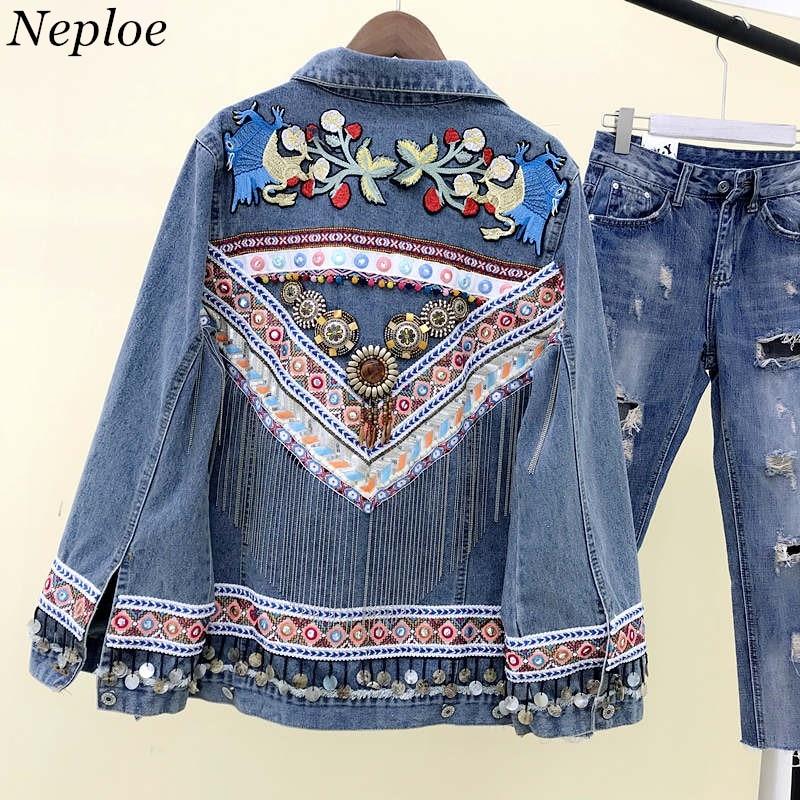 37285 Manteau Neploe Veste Lâche Denim Lourd Gland Paillettes Patchwork Vintage Causalité Manteaux Blue Broderie Jeans De Mode Femme tCxBQrdsh