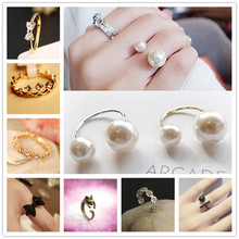 Hot Selling Fashion Imitation Pearl Crown Wing Leaf Lucky 8 Crystal Bow Open Ring For Women Lover Wedding Engagement Jewelry