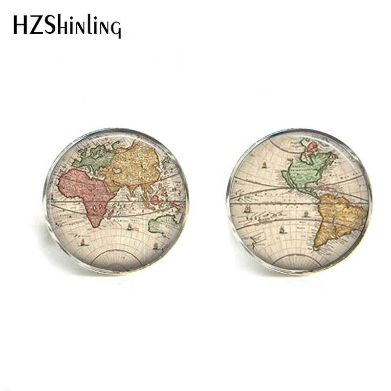 HZShinling 2017 World Map Pattern Cufflinks for Men Multicoloured Earth Map Shirt Cuff Links Personalized Cufflinks Wedding 006