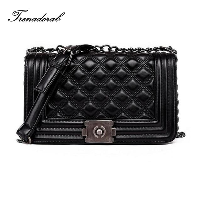 Trenadorab Vintage Women Bags Diamond Lattice Women Handbags Leather Clutch Ladies Chain Brand Women Shoulder Bags Sac A Main