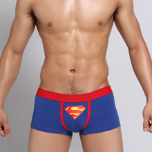 2017 New U Convex Pouch Cartoon Blue Superman Print Mens Underwear Brethhable Cueca Boxers Cotton Sexy Comfort Boxer Men Trunks(China)