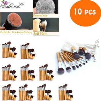 10Pcs/Lot 11Pcs Pro Makeup Brushes Cosmetics Tools Bamboo Handle Eyeshadow Foundation Brush Set Blush Soft Kabuki Beauty Kit