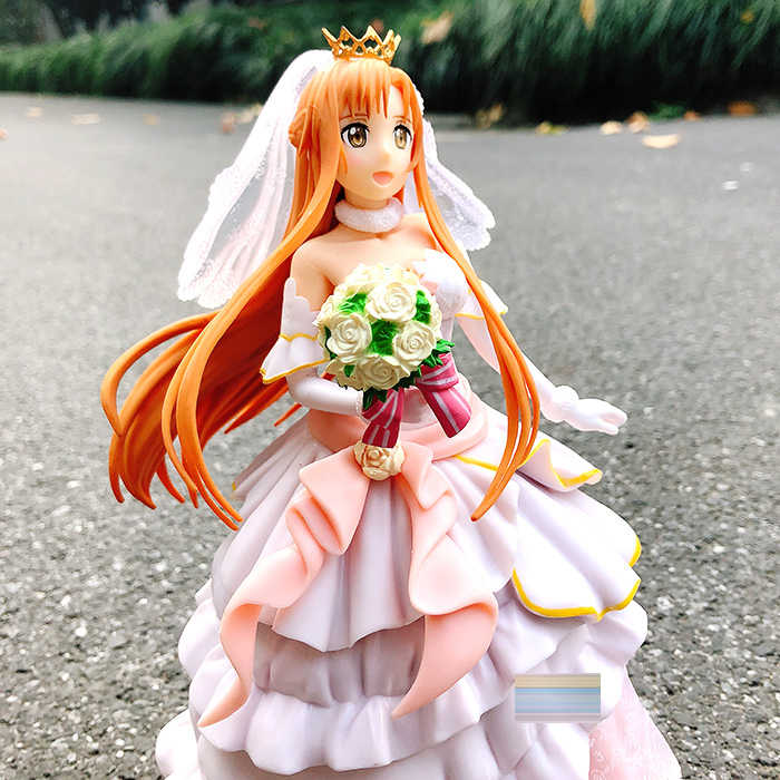 Jepang Asli Tokoh Anime Sword Art Online Yuuki Asuna Pernikahan Gaun Ver Action Figure Collectible Model Mainan untuk Anak Laki-laki