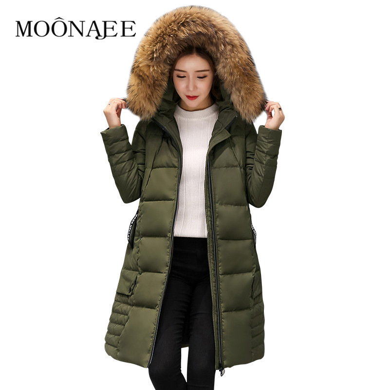 Winter Natural Raccoon Fur Thicken Down Coats Fashion Long Parkas Women Down Jackets Snow Outerwears Female Overcoats