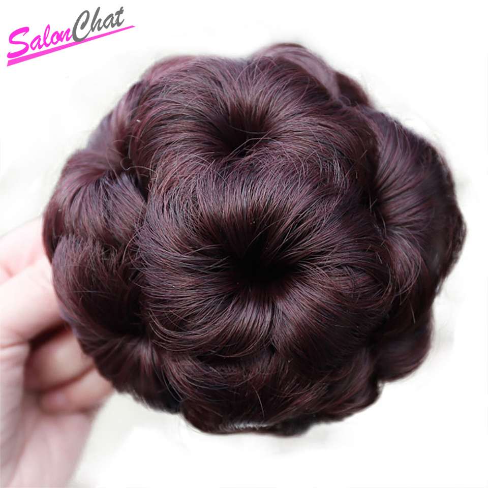 SalonChat Brazilian Afro Hair Chignon 4 Colors Bun Donut Chignon Clip In Hairpiece Remy Human Hair Extension Bun For Women(China)
